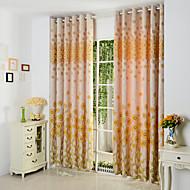 dois painéis amarelos florais de algodão poli botânico cortinas painel mistura cortinas