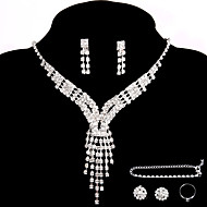 Fashion Bridal Wedding Party Jewelry Sets Crystal Necklace Ring Bracelet Earrings Gift 2 Pairs Rhinestone Earrings