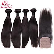 """smilco 12 """"-34"""" 4 niput slik closures hiuksista Brasilian neitsyt hiukset slik edestä sulkeminen nippua"""
