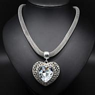 Rhinestone Heart Pendant Silver Chain Necklace