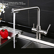 Contemporary Potable Water Chrome Finish Brass One Hole Double Handle Kitchen Faucet