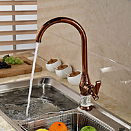 Contemporary Rose Gold Ceramic&Brass Hot and Cold Single Handle Kitchen Faucet