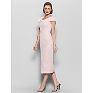 Sheath / Column Mother of the Bride Dress Tea-length Short Sleeve Chiffon with