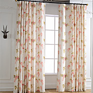 Two Panel Linen Bright-coloured Flower Printing Curtain Curtains Drapes