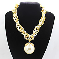Women's european style multi-level alloy chain bigpearl diamond short sweater chain