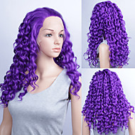 20inch Fashionable Cosplay Party Wig Long Curly Purple Color Lace Front Quality Synthetic Wigs