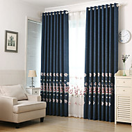 Two Panels Modern Neoclassical European Floral Botanical Living Room Curtains Drapes