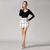 Women's Plaid White / Black Skirts,Casual / Day Above Knee