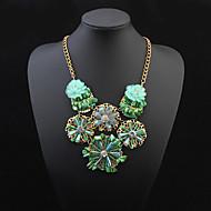 Women's European Style Fashion Lotus Flower Rhinestone Necklace