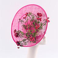 Women Fuchsia Sinamay Flowers Headbands Fascinators Feather Wedding Derby Hats