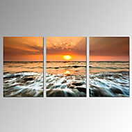 VISUAL STAR®Sunrise on Sea Stretched Canvas Print for Home Decor Ready to Hang