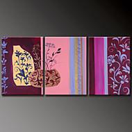 Hånd-malede Blomstret/BotaniskModerne Tre Paneler Canvas Hang-Painted Oliemaleri For Hjem Dekoration