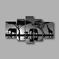 listo para colgar estirada enmarcada aceite de la pintura de la pared de la lona de arte del amanecer pintado a mano animales africanos