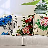 Coton / Coton/Lin Housse de coussin , Floral Rustique