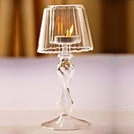 Unique Crystal Glass Clear Candlestick Vintage Votive Candle Holder Table Lamp