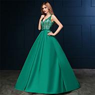 Formeller Abend Kleid - Grün Satin - A-Linie - Sweep / Pinsel Zug - V-Ausschnitt