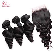 smilco 6a brazilian jomfru håret løs bølge med nedleggelse 3 bunter med 4 * 4 blonder nedleggelse frie delen