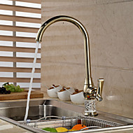Contemporary Gold Ceramic&Brass Hot and Cold Single Handle Kitchen Faucet