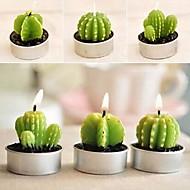 6 x kaktus plante pot sæt stearinlys stearinlys party julen bryllup dekorationer (tilfældig farve)