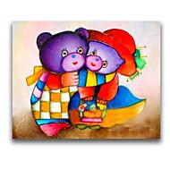 iarts®two pittura a olio handmade dell'orso sveglio per stanza del bambino bello stile