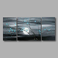 Ready to Hang Stretched Hand-painted Oil Painting Canvas Wall Art Modern Blue Blossom Sunrise Three Panels