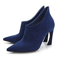 נעלי נשים - מגפיים - קטיפה - עקבים / מגפונים / שפיץ - שחור / כחול / בורגונדי / חאקי - שמלה / קז'ואל / מסיבה וערב - עקב עבה