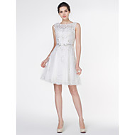 Lan Ting - A-line Wedding Dress - Ivory Knee-length Scoop Lace