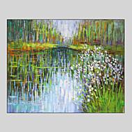 Kézzel festett Landscape / Fantasy / Absztrakt tájképSTÍLUS Egy elem Vászon Hang festett olajfestmény For lakberendezési