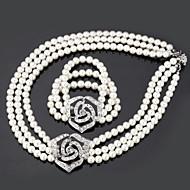 Conjunto de jóias Imitação de Pérola / Strass Liga / Imitação de Pérola Mulheres