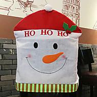 Santa Hat Cartoon Snowman Chair Cover for Christmas Dinner Table Party Decoration