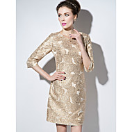 Sheath/Column Mother of the Bride Dress - Pearl Pink / Champagne Short/Mini 3/4 Length Sleeve Polyester
