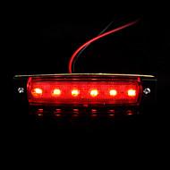 4PCS 6 LED Truck Bus Trailer Side Marker Indicators Lights Lamp Red 12V