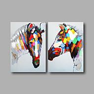 Pintados à mão Abstrato / AnimalModerno 2 Painéis Tela Pintura a Óleo For Decoração para casa