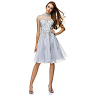 TS Couture® Cocktail Party Dress - Silver A-line High Neck Knee-length Chiffon