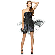 TS Couture Cocktail Party Dress - Black A-line Strapless Short/Mini Organza