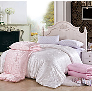 Jacquard 100% Natural Silk Quilt Autum/Winter Comforter Silk Net Weight 2500g Four Sizes White Pink Beige