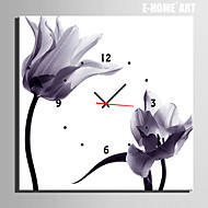 E-HOME® Plain Flowers Clock in Canvas 1pcs