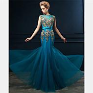 Formal Evening Dress - Ocean Blue Trumpet/Mermaid Bateau Floor-length Tulle