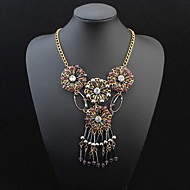 European Style Fashion Simple Flower Tassel Necklace