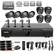 liview® 8-kanals fulle 960h DVR og 4 stk utendørs 600tvline dag / natt kameraer