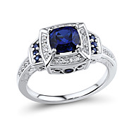 Ring,925 Sterling Silver Diamond / Imitation Sapphire / Imitation Diamond Square Wedding / Party / Daily / Casual / N/A JewelrySilver /