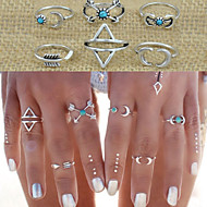 Pierścionki na palec środkowy Stop Miłość Modny Oświadczenie Biżuteria Silver Biżuteria Ślub Impreza Codzienny Casual 1set