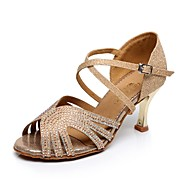 Scarpe da ballo - Non personalizzabile - Donna - Latinoamericano - Tacco a rocchetto - Pelle / Glitter - Blu / Oro