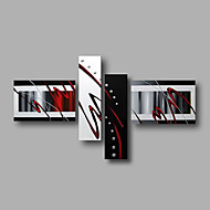 Ready to Hang Stretched Hand-Painted Oil Painting Four Panels Canvas Wall Art Modern Black Red Abstract