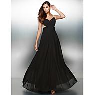 저녁 정장파티 드레스 - 블랙 A라인 바닥 길이 V넥 쉬폰