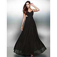 TS couture® 공식적인 저녁 아플리케 / 골 크로스 V 넥 바닥 길이 쉬폰 A 라인 드레스