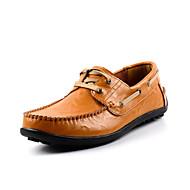 Férfi Vitorlás cipők Kényelmes Formai cipő Búvárcipő Tavasz Ősz Valódi bőr Bőr Esküvő Hétköznapi Party és Estélyi Fűző Lapos Fekete Sárga