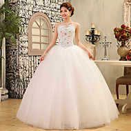 Ball Gown Wedding Dress - White Floor-length Strapless Lace / Satin / Tulle