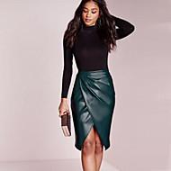 Women's High Waist Solid PU Slim Skirts , Casual / Work Knee-length