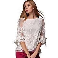 Women's Patchwork White Blouse , Round Neck ¾ Sleeve chiffon